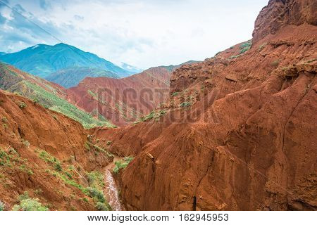 Beautiful mountain landscape in the Aeolian mountains on a summer day Kyrgyzstan.