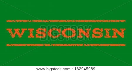 Wisconsin watermark stamp. Text caption between horizontal parallel lines with grunge design style. Rubber seal stamp with dust texture. Vector orange color ink imprint on a green background.