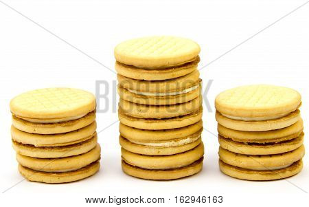 Shortbread biscuits on a white background .