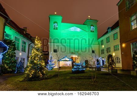 Tallinn, Estonia - December 17, 2016: the Cathedral of Saint apostles Peter and Paul in the old town