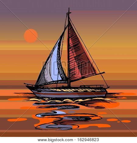 Sailing boat vector color sketch with reflection. Sunset Sea yacht floating on the water surface.