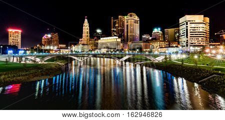 Columbus Ohio night skyline from the the Main Street Bridge