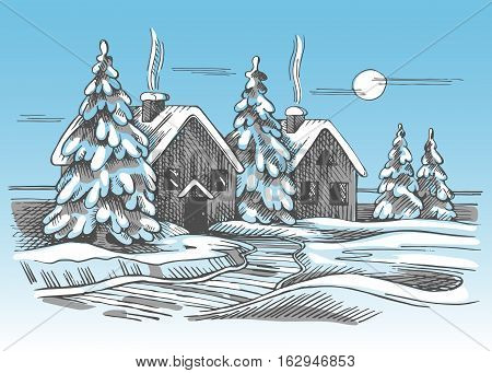 Color vector sketch of the winter landscape. Two rural houses and trees.