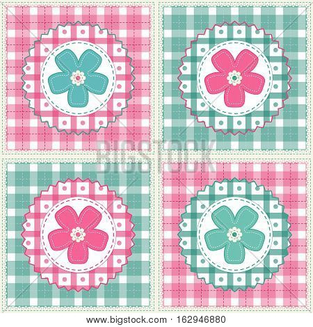 Floral background with decorative patchwork flowers. Easter vector pattern for cushion pillow bandanna silk kerchief or shawl fabric print. Texture for clothes bedclothes. Embroidery stylization