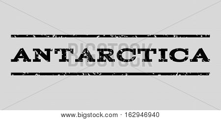 Antarctica watermark stamp. Text caption between horizontal parallel lines with grunge design style. Rubber seal stamp with scratched texture.