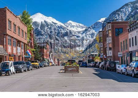 TELLURIDE, CO - OCTOBER 6, 2016: Looking up Colorado Avenue in Telluride, Colorado