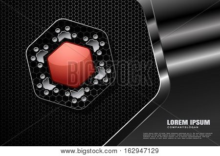 Abstract vector gradient white mesh background with hexagon red and gray shapes in the metal frame.