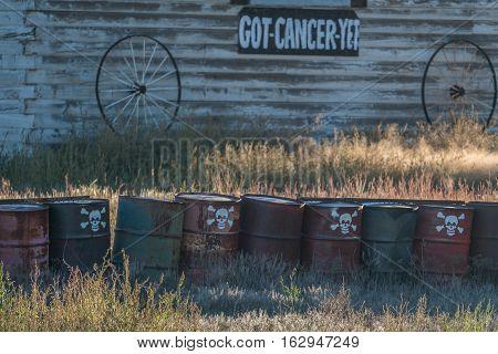 Barrels with skull and cross bones at a toxic site