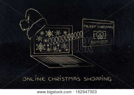 Online Shopping Or Sending Wishes, Christmas Pop-up On A Spring