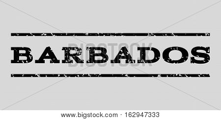 Barbados watermark stamp. Text caption between horizontal parallel lines with grunge design style. Rubber seal stamp with unclean texture. Vector black color ink imprint on a light gray background.