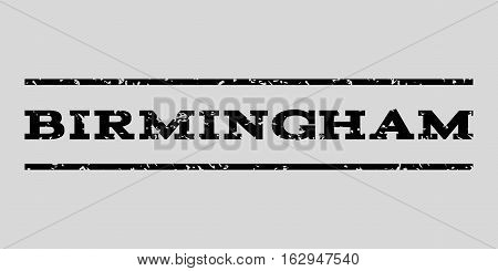 Birmingham watermark stamp. Text tag between horizontal parallel lines with grunge design style. Rubber seal stamp with unclean texture. Vector black color ink imprint on a light gray background.