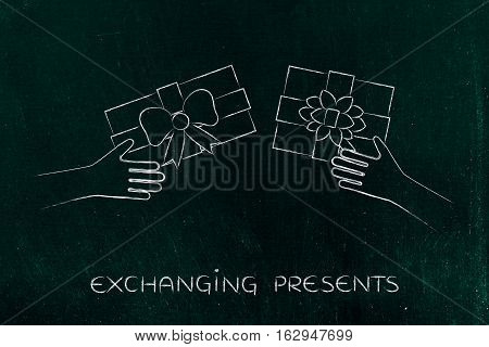 Hands Exchanging Christmas Presents