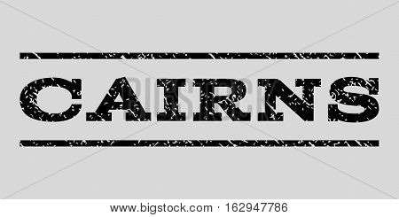Cairns watermark stamp. Text caption between horizontal parallel lines with grunge design style. Rubber seal stamp with dirty texture. Vector black color ink imprint on a light gray background.