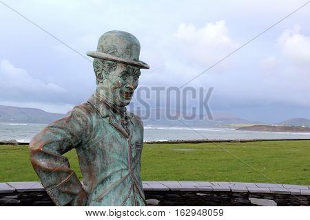 Charlie Chaplin Statue, Seaside of Mainstreet, Co. Kerry, Waterville, Ireland