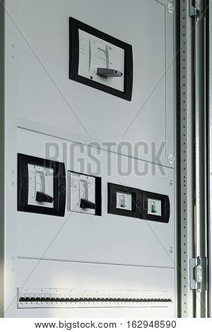 electrical Cabinet with breakers closed protective panels to protect people from touching electrical components