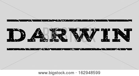 Darwin watermark stamp. Text tag between horizontal parallel lines with grunge design style. Rubber seal stamp with dirty texture. Vector black color ink imprint on a light gray background.