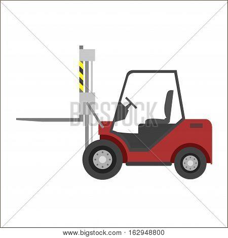 Loader red car, icon, illustration, vector, industrial