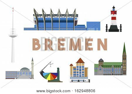 Colorful and detailed skyline of Bremen with various landmarks of Bremen, Germany isolated