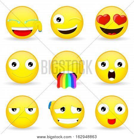 Emoji set. Emoticon set. Cartoon style. Eps 10.