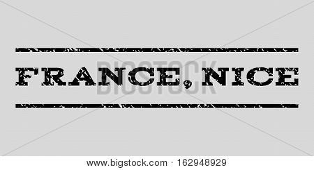 France, Nice watermark stamp. Text caption between horizontal parallel lines with grunge design style. Rubber seal stamp with dust texture. Vector black color ink imprint on a light gray background.