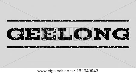 Geelong watermark stamp. Text tag between horizontal parallel lines with grunge design style. Rubber seal stamp with dirty texture. Vector black color ink imprint on a light gray background.