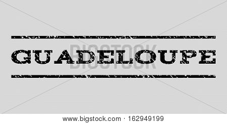 Guadeloupe watermark stamp. Text tag between horizontal parallel lines with grunge design style. Rubber seal stamp with unclean texture. Vector black color ink imprint on a light gray background.