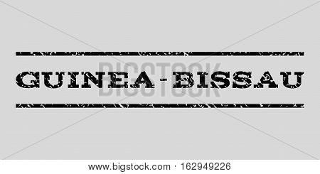 Guinea-Bissau watermark stamp. Text tag between horizontal parallel lines with grunge design style. Rubber seal stamp with scratched texture. Vector black color ink imprint on a light gray background.