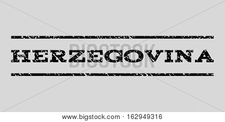 Herzegovina watermark stamp. Text caption between horizontal parallel lines with grunge design style. Rubber seal stamp with scratched texture.
