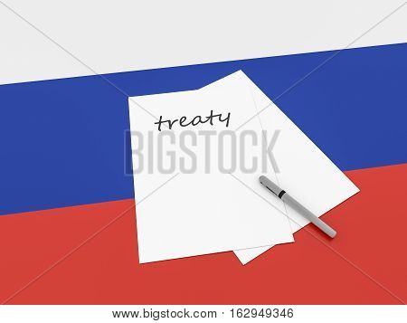 Russian Politics: Treaty Note On Russia Flag 3d illustration