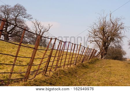 Craggy old iron fence in the summertime of England.