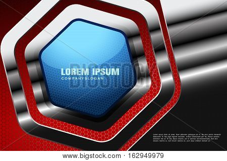 Vector abstract gradient red mesh background with hexagon blue shape in frame cutout from metal base.