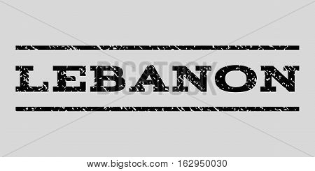 Lebanon watermark stamp. Text tag between horizontal parallel lines with grunge design style. Rubber seal stamp with unclean texture. Vector black color ink imprint on a light gray background.