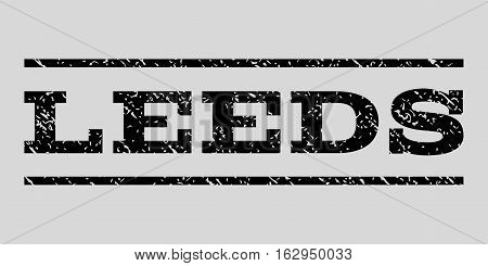 Leeds watermark stamp. Text caption between horizontal parallel lines with grunge design style. Rubber seal stamp with dirty texture. Vector black color ink imprint on a light gray background.