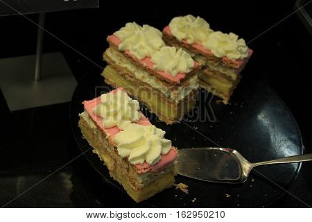 Fresh made Tompouce multilayered pastry in Belgium and the Netherlands