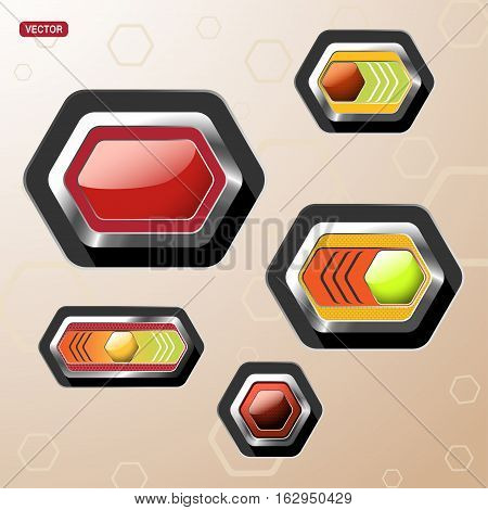 Vector set glass stretched icons of button and switch with glow and mesh pattern on the hexagon metal base with shadow.
