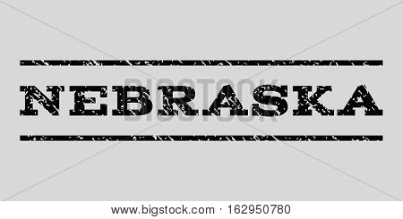 Nebraska watermark stamp. Text tag between horizontal parallel lines with grunge design style. Rubber seal stamp with scratched texture. Vector black color ink imprint on a light gray background.
