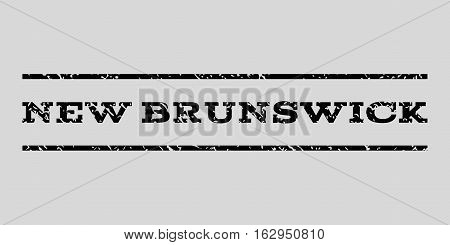 New Brunswick watermark stamp. Text tag between horizontal parallel lines with grunge design style. Rubber seal stamp with dust texture. Vector black color ink imprint on a light gray background.