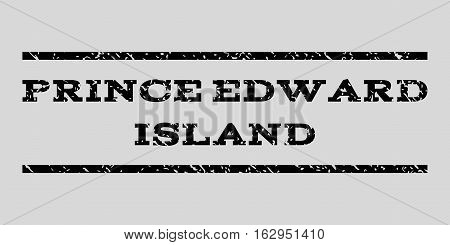 Prince Edward Island watermark stamp. Text tag between horizontal parallel lines with grunge design style. Rubber seal stamp with dust texture.