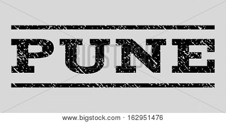 Pune watermark stamp. Text caption between horizontal parallel lines with grunge design style. Rubber seal stamp with unclean texture. Vector black color ink imprint on a light gray background.