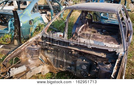 Summer, a junkyard in the grass. Body car without glasses, motor, seat.