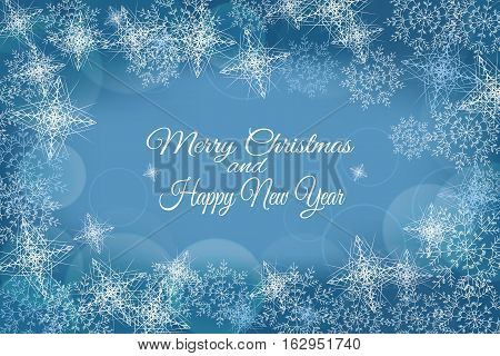 Vector Merry Christmas and Happy New Year abstract blue background with snowflakes.
