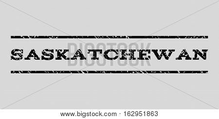 Saskatchewan watermark stamp. Text tag between horizontal parallel lines with grunge design style. Rubber seal stamp with dust texture. Vector black color ink imprint on a light gray background.