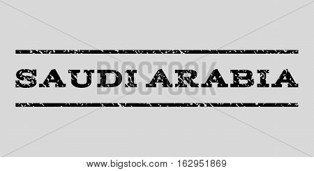 Saudi Arabia watermark stamp. Text caption between horizontal parallel lines with grunge design style. Rubber seal stamp with unclean texture.