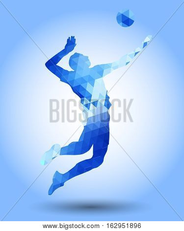 Illustration of abstract triangle volleyball player silhouette