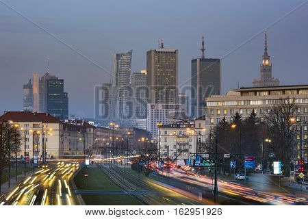 Aerial view of Warsaw Financial Center during dusk time Poland