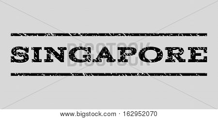 Singapore watermark stamp. Text tag between horizontal parallel lines with grunge design style. Rubber seal stamp with scratched texture. Vector black color ink imprint on a light gray background.