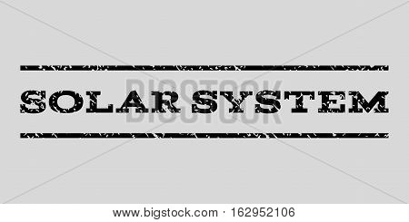Solar System watermark stamp. Text tag between horizontal parallel lines with grunge design style. Rubber seal stamp with unclean texture. Vector black color ink imprint on a light gray background.