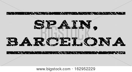 Spain, Barcelona watermark stamp. Text caption between horizontal parallel lines with grunge design style. Rubber seal stamp with unclean texture.