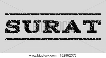 Surat watermark stamp. Text tag between horizontal parallel lines with grunge design style. Rubber seal stamp with dust texture. Vector black color ink imprint on a light gray background.