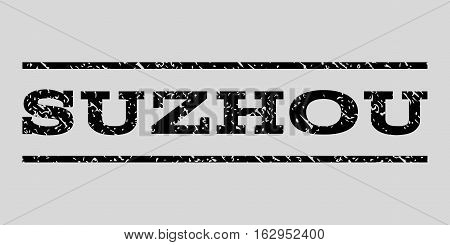 Suzhou watermark stamp. Text caption between horizontal parallel lines with grunge design style. Rubber seal stamp with unclean texture. Vector black color ink imprint on a light gray background.